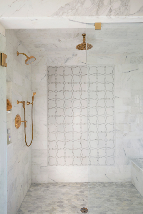 gold rain shower head. Shower with Gold Fixtures  Transitional Bathroom Libby Greene