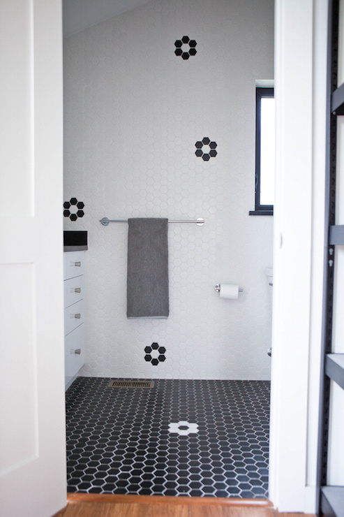 Attic Bathroom Boasts A Walls Clad In White Hex Tiles Accented With Black  Hex Tiles In Flower Formation Alongside A White Lacquered Washstand Topped  With ... Part 76