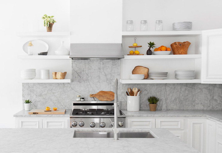 Kitchen White Floating Cooktop Shelves