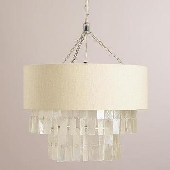White Capiz Linen Pendant Lamp I West Elm