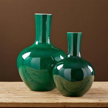 Imperial Green Set of 2 Straight Collar Vases I Burke Decor
