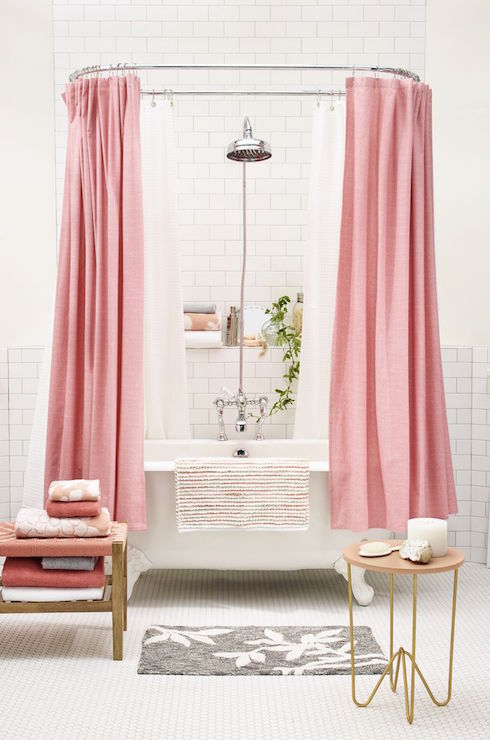 pink shower curtains contemporary bathroom target