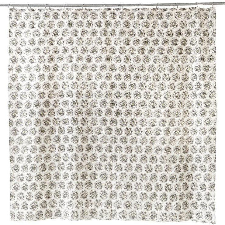 Thistle Cream And Grey Shower Curtain