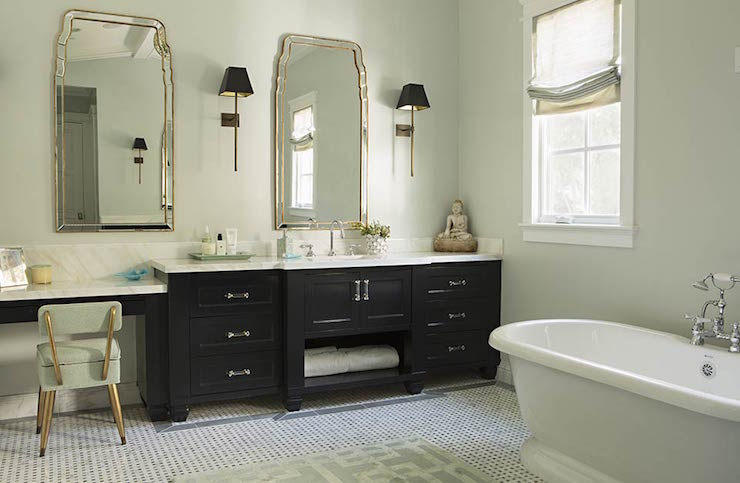 Makeup Vanity Next to Washstand - Transitional - Bathroom