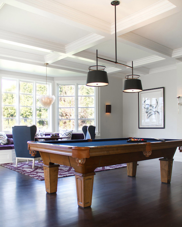 Pool Room Furniture Ideas lower level billiards room Family Game Room Features A Coffered Ceiling Accented With The Urban Electric Co Carlyn Double Light Hanging Over A Wood Pool Table With Blue Lining