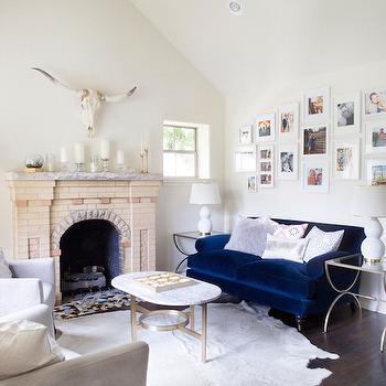 Blue Velvet Couch, Transitional, Living Room, Claire Zinnecker Design