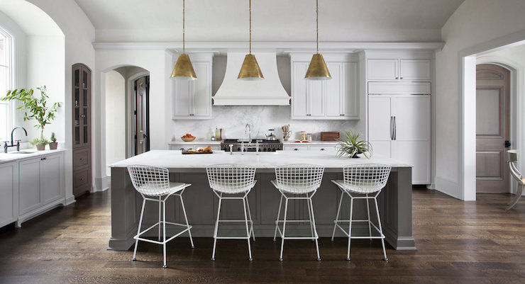 Amazing White Kitchen With Gray Island Part 32