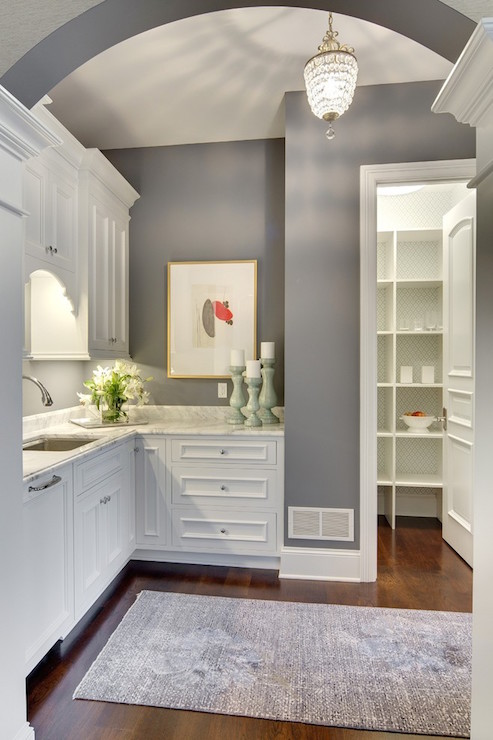 White And Gray Butlers Pantry Transitional Kitchen