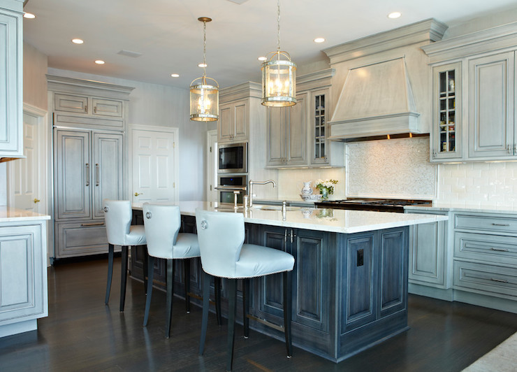 Distressed gray kitchen cabinets transitional kitchen for Distressed kitchen cabinets