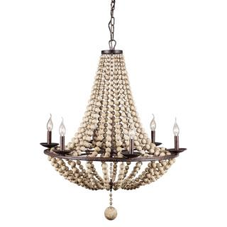 Flint 6-light Rust/ Shell Ceiling Lamp, Overstock.com