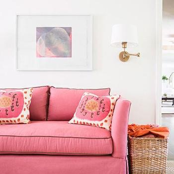 Brown Sofa Pink Pillows Design Ideas