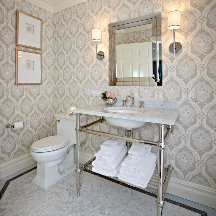 Carrera marble transitional bathroom for Carrera bathroom ideas