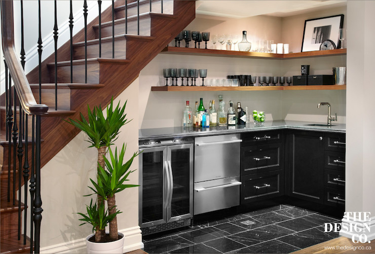 Under the stairs wet bar contemporary basement the for Kitchen designs under stairs