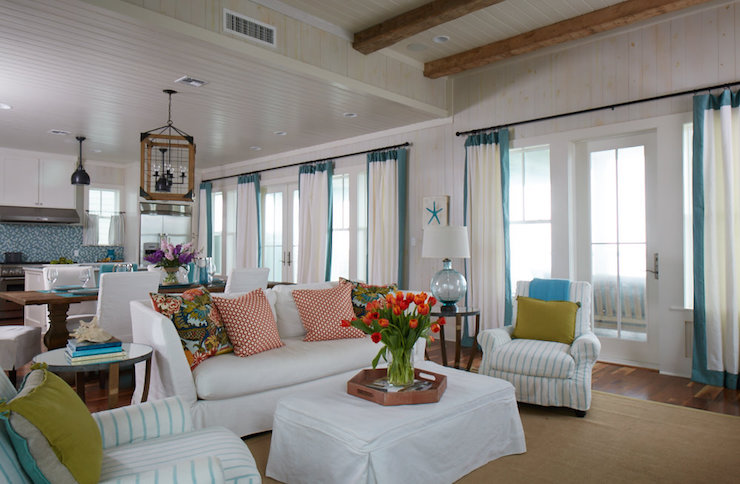 Turquoise border curtains cottage living room - Turquoise curtains for living room ...