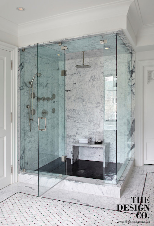 Marble Waterfall Shower Bench Contemporary Bathroom