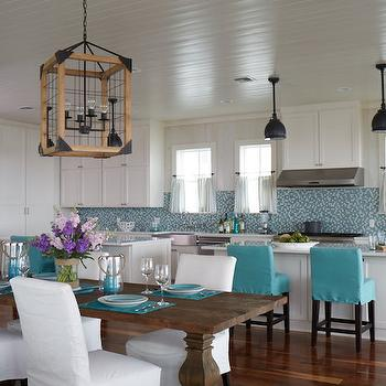 Turquoise Counter Stools, Cottage, Kitchen, Tracery Interiors