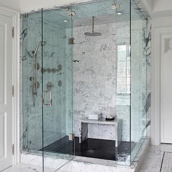 Marble Waterfall Shower Bench, Contemporary, Bathroom, The Design Company