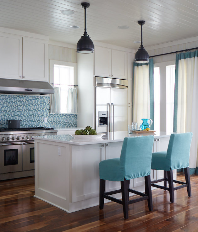 Gray And Blue Kitchen With Turquoise Subway Tiles