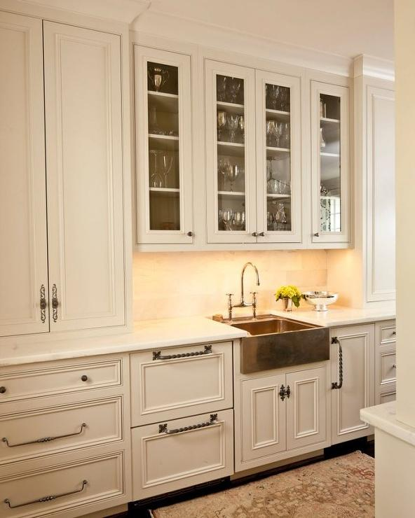 White Kitchen Cabinet Hardware: Copper Apron Sink