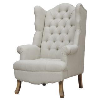 Madison Beige Linen Wing Chair, Overstock.com