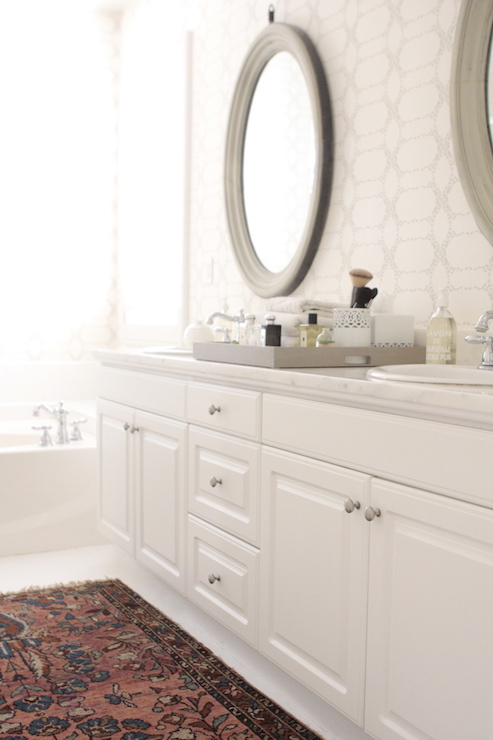 Madison and grow elizabeth wallpaper transitional for Oval mirrors for bathroom vanities