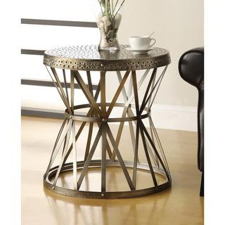 Threshold Gold Hammered Metal Drum Table