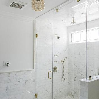 Bathroom with Marble Wainscoting and Marble Pencil Rail, Contemporary, Bathroom