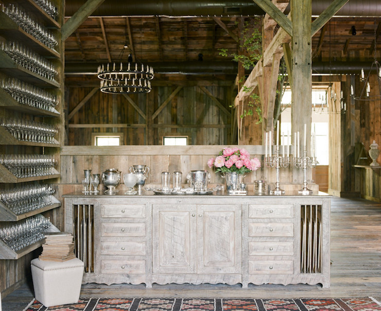 Rustic Barn Pantry Features A Salvaged Wood Sideboard Fitted With Vertical Tray  Dividers As Well As Cabinets And Drawers Topped With Sterling Silver ...