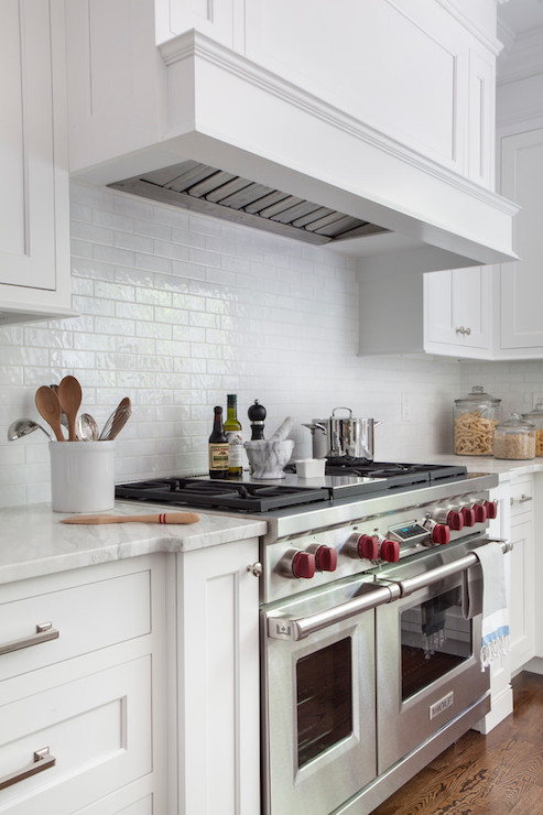 White Gloss Mini Subway Tiles Transitional Kitchen