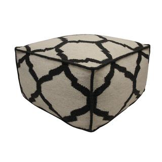 Vase Charcoal Wool Pouf Ottoman, Overstock.com