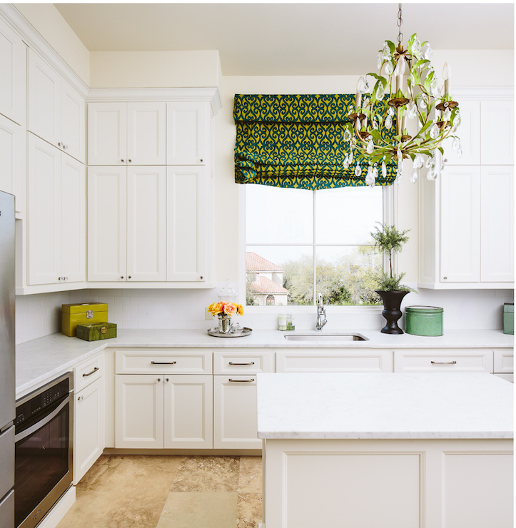 White Kitchen With Green Accents Transitional Kitchen