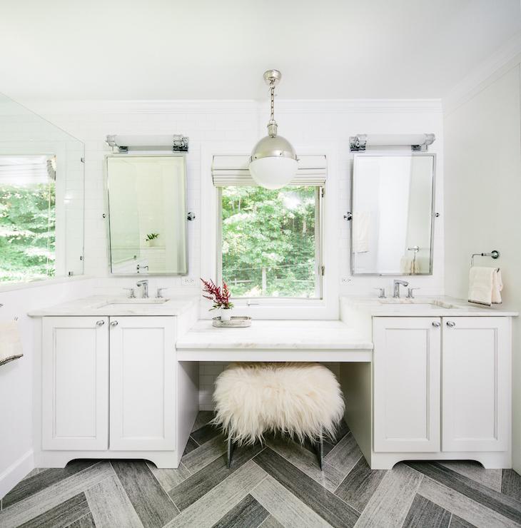 Gray Herringbone Floor Contemporary Bathroom Matthew