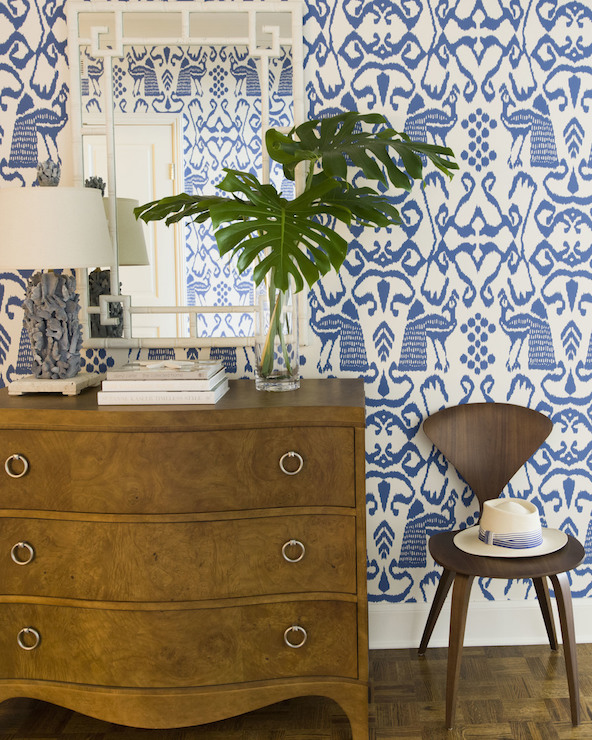 Fabulous Foyer Features Walls Clad In White And Blue Ikat Wallpaper Quadrille Bali Isle Lined With A Curvy 3 Drawer Chest Adorned Silver