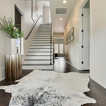 Black and White Cowhide Rug, Contemporary, Entrance/foyer, Sherwin Williams First Star, Maison de Reve Builders