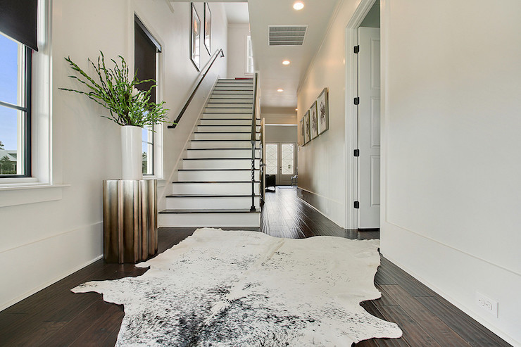 Black And White Cowhide Rug Contemporary Entrance