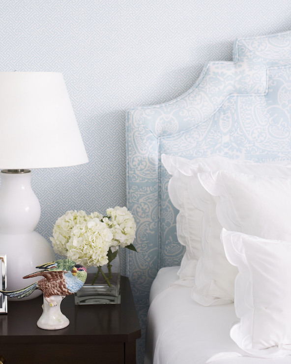 Lighting For Teenage Bedroom Vinyl Wall Art Bedroom Accent Wall Ideas For Bedroom Geometric Wallpaper Bedroom: Blue Bedroom With Geometric Wallpaper