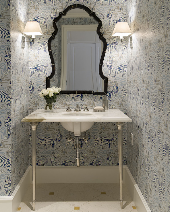 Powder Room Bathroom Vanities: Small Marble And Glass Washstand With Arteriors Lander