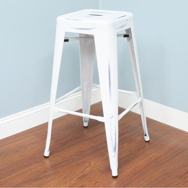 White Vintage Industrial 24 Inch Stool