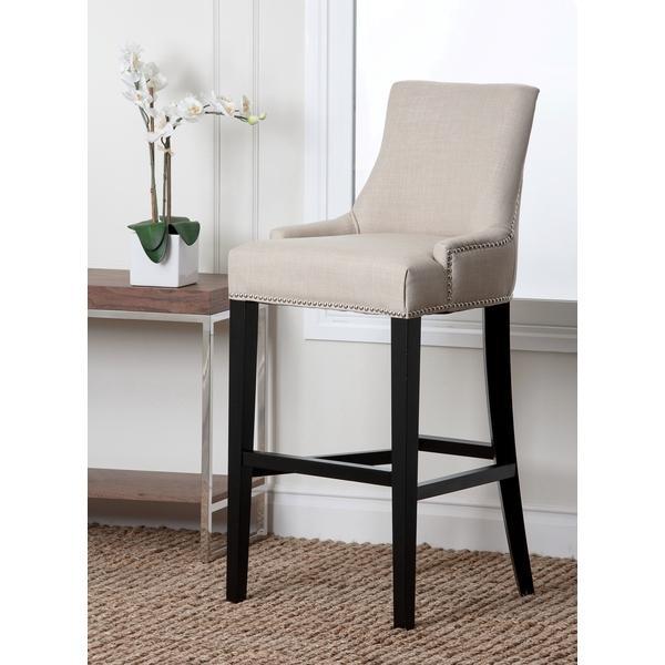 Terrific Abbyson Living Newport Off White Fabric Nailhead Trim Bar Stool Theyellowbook Wood Chair Design Ideas Theyellowbookinfo