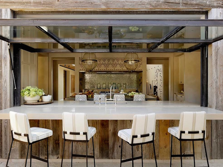 Patio Kitchen Pass Through Boasts Reclaimed Wood Plank Walls Framing An  Outdoor Bar Lined With Iron Barstools With Striped Cushions Under A Metal  And Glass ... Part 70