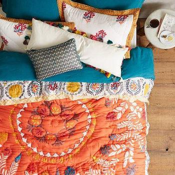 Zocalo Embroidered Quilt, Tangerine Quilt
