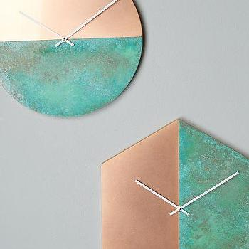 Geometria Wall Clock, Copper and Green Wall Clock