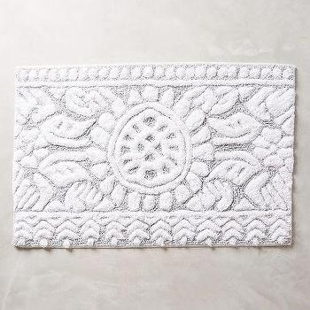 Marigold White and Gray Bathmat. Philippa Bathmat in Grey