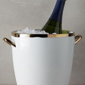 Gold-rimmed Ice Bucket, Porcelain Ice Bucket
