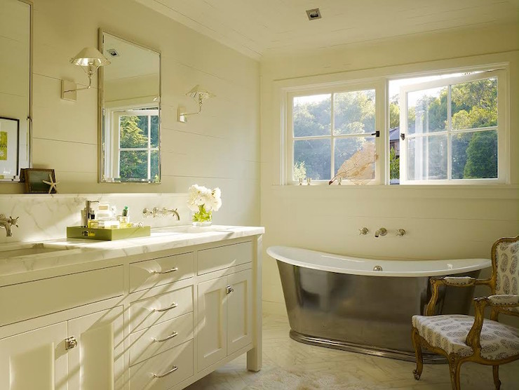 Double Bathroom Vanity with Backsplash Shelf - Transitional ...