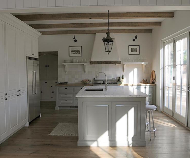 plaster kitchen hood with wood trim design ideas