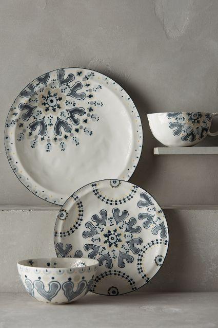 & Fandoline Hand Painted Grey Dinnerware