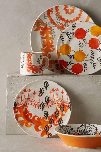 Sun Grove Orange and White Dinnerware & Black and White Vista Alegre by Christian Lacroix Sol Y Sambra ...