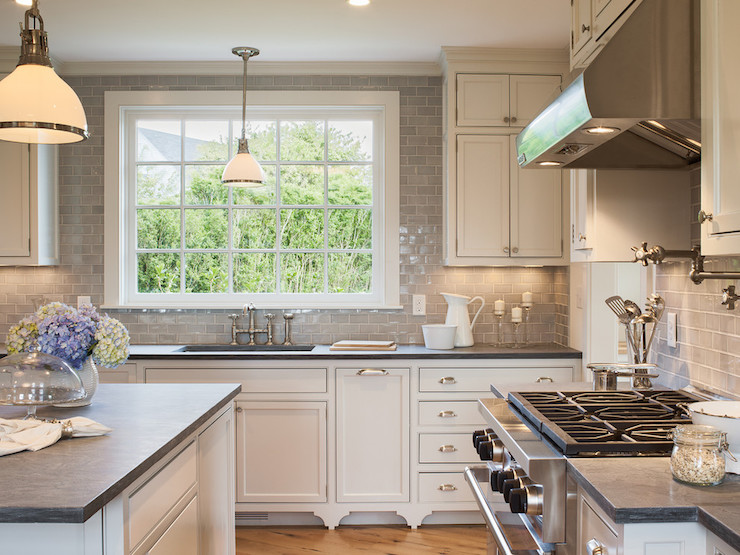 Hand Glazed Gray Subway Tiles Transitional Kitchen