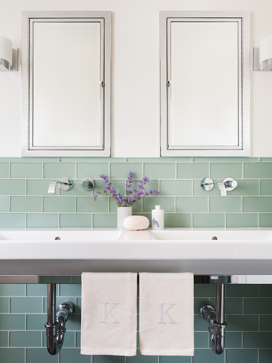 Green Bathroom Subway Tiles Design Ideas